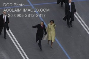 Clip Art Stock Photo of President Obama and Mrs. Obama Walking Down Pennsylvania Avenue