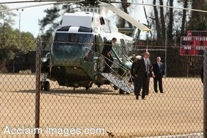 Clipart Photo of President Obama Stepping Out Of a Helicopter