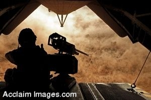 Clipart Photo of a Helicopter Ramp With A Soldier Sitting On It