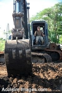 Clipart Photo of A Soldier Using a Back Hoe