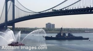 Clipart Photo of A Destroyer Going Underneath a Bridge