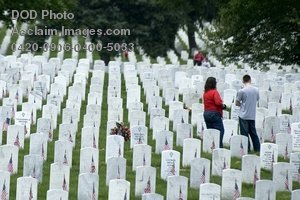 Clip Art Stock Photo of People Visiting a Military Gravesite at Arlington National Cemetery