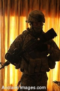 Clipart Photo of a Soldier Providing Security In Iraq