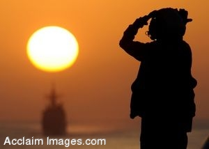 Clipart Photo of a Soldier On An Aircraft Carrier Signalling to Aircraft