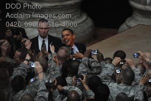 Clip Art Stock Photo of President Barack Obama Speaking to US Soldiers in Iraq
