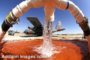 Clipart Photo of a Modular Airborne Firefighting System Filling With Water