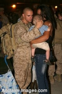 Clipart Photo of a Soldier Being Welcomed Home By His Wife and Son