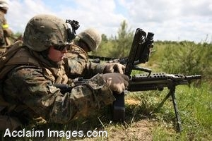Clipart Photo of Soldiers Using Weapons