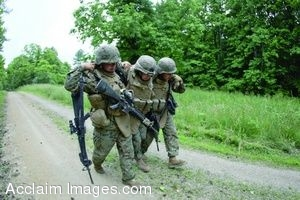 Clipart Photo of A Wounded Soldier Being Helped By Other Soldiers