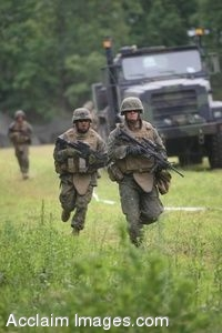 Clipart Photo of a Military Truck With Soldiers Running In Fron Of It