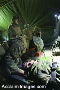 Clipart Photo of Wounded Being Tended To By Soldiers