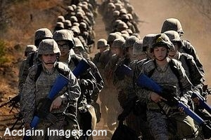 Clipart Photo of Soldiers In Training Running With Combat Gear On