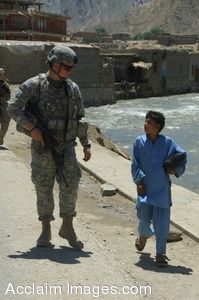 Clipart Photo of a Soldier Walking With a Small Boy