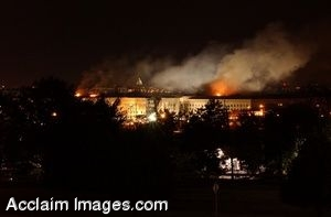 Clipart Photo of the Pentagon After the 9-11 Attack