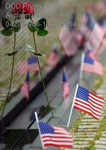 Clip Art Stock Photo of American Flags Set at the War Memorial in Washington DC