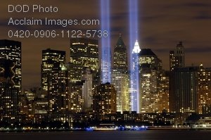 """Clip Art Stock Photo of New York City Skyline With the """"Tribute in Light"""" Memorial"""