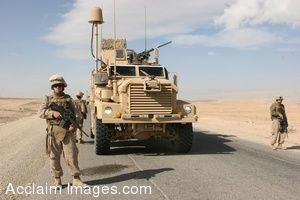Clipart Photo of a Military Transport With Soldiers Walking Next To It