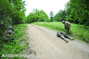 Clipart Photo of A Wounded Soldier Laying On A Road