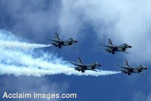 Clipart Photo of  F-16 Thunderbird Jets Flying in Formation