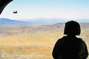 Clipart Photo of a Soldier Looking Out Of a Helicopter