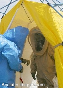Clipart Photo of Soldiers in Haz Mat Suits
