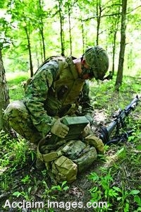 Clipart Photo of a Soldier Looking At Equipment in the Forest