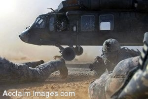 Clipart Photo of Soldiers Getting Out Of a Helicopter