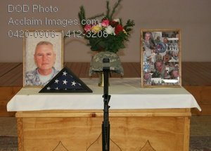 Clip Art Stock Photo of a Memorial for a Soldier In a Church