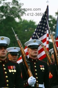 Clip Art Stock Photo of Marines During a Ceremony