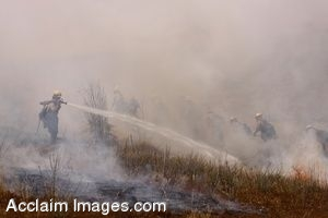 Clipart Photo of Los Angeles Firefighters in Training