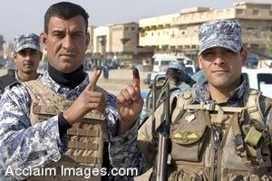 Clipart Photo of a Polling Site With Baghdad Soldiers