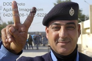 Clip Art Stock Photo of an Iraqi Police Officer Giving the Peace Sign