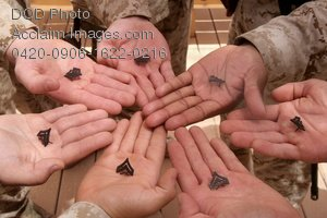 Clip Art Stock Photo of Soldiers Holding New Rank Pins in Their Hands