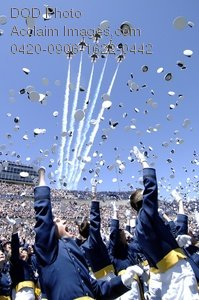 Clip Art Stock Photo of Air Force Lieutenants Tossing Their Hats at Graduation