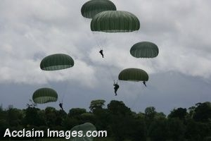 Clipart Photo of Paratroopers in Flight