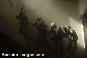 Clipart Photo of Soldiers On a Staircase During A Training Exercise