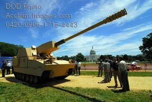Clip Art Stock Photo of People Looking at a Military Tank in a Park