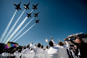 Clipart Photo of Military Jets Flying Above Naval Academy Graduates