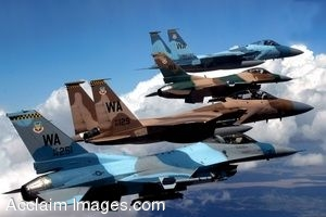 Clipart Photo of Military Jets Flying in Formation