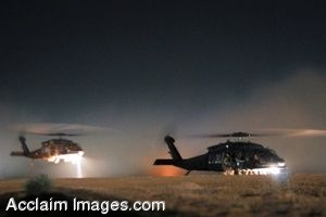 Clipart Photo of A Nighttime Flight Of Military Helicopters