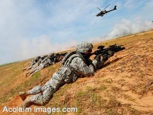 Clipart Photo of Soldiers Laying on a Hill With Weapons