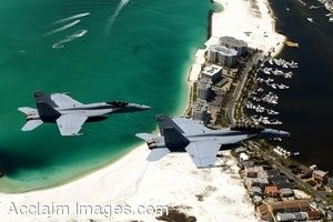 Clipart Photo of Military Jets Flyng Over Eglin Air Force Base