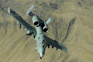 Clip Art Stock Photo of a Thunderbolt II Aircraft in Flight Over Afghanistan