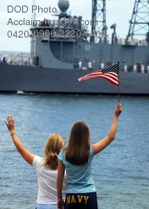 Free Public Domain Picture: Navy Wives and Families Wave Goodbye To Sailors Aboard Ship