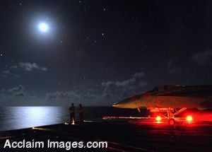 Clipart Photo of Sailors Aboard An Aircraft Carrier at Night