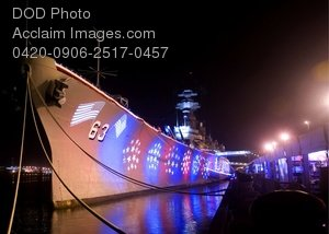 Free Public Domain Picture: Night Shot of the USS Missouri Memorial Ship at Ford Island Hawaii
