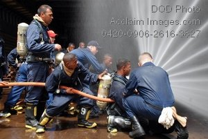 Free Public Domain Picture: U.S. and Malagasy Navy Sailors Practicing Firefighting Techniques