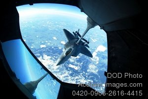 Free Public Domain Picture: Inside View of an F-22 Raptor Aircraft Fueling From a KC-10 Extender Aircraft In Mid-Air