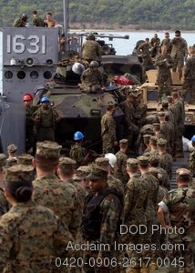 Free Public Domain Picture: U.S. Marines and Sailors Unloading Landing Craft Utility 1631 In Thailand