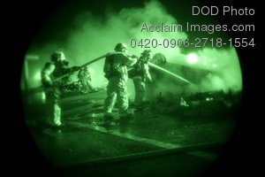 Free Public Domain Picture: Marines In Firefighting Training Viewed Through Night Vision Goggles